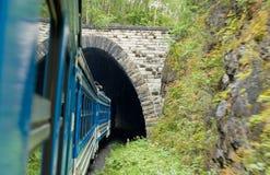 De treinaandrijving in een tunnel Stock Fotografie