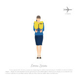 De treinen van de stewardesspassagier om een reddingsvest te gebruiken Vrouw in unifor vector illustratie