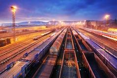 De treinplatform van de lading bij nacht - trasportation van de Vracht Stock Foto