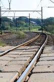De treinsporen van de kromme Stock Afbeelding