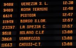 De treintijdschema van het tijdschema, Italië royalty-vrije stock afbeelding
