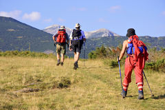 De trekking van mensen in de berg Royalty-vrije Stock Foto