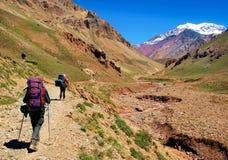 De trekking van wandelaars in de Andes in Zuid-Amerika stock foto