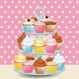De tribune van Cupcake Stock Afbeeldingen