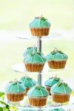 De tribune van de huwelijks cupcake toren met turkooise cakes Royalty-vrije Stock Foto