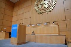De tribune van de spreker van de Verenigde Naties Stock Afbeeldingen
