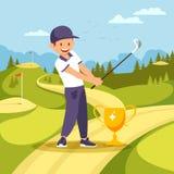 De Tribune van de golfspeler dichtbij Drinkbeker met Club in Handen vector illustratie