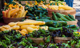 De tribune van Vetable in landbouwersmarkt Stock Fotografie