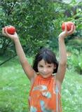 De tribunes van het meisje in een tuin en levensonderhoud rijpe tomaten Stock Foto