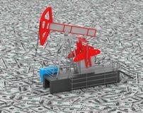 De tribunes van oliejack pump over hoop van geld Royalty-vrije Stock Afbeelding