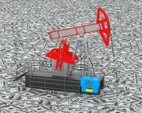 De tribunes van oliejack pump over hoop van geld Stock Afbeeldingen