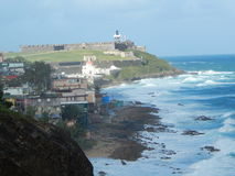 De tribuneswacht van San Felipe del Morro Fortress over San Juan Puerto Rico Stock Afbeeldingen