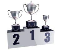 De trofeeën van het podium Stock Afbeeldingen