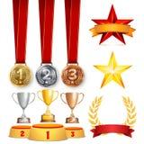 De trofee kent Koppen, Gouden Laurel Wreath With Red Ribbon en Gouden Schild toe Realistische Gouden, Zilveren, Bronsvoltooiing Royalty-vrije Stock Afbeelding