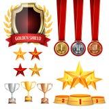 De trofee kent Koppen, Gouden Laurel Wreath With Red Ribbon toe Realistische Gouden, Zilveren, de Medailles van de Bronsvoltooiin Stock Afbeeldingen