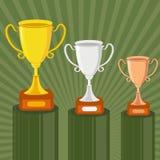 De Trofee van het goud, van het Zilver en van het Brons Stock Fotografie