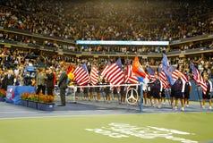 De trofeepresentatie in Billie Jean King National Tennis Center na US Open 2013 kampioen Rafael Nadal won definitieve gelijke Royalty-vrije Stock Afbeeldingen