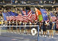 De trofeepresentatie in Billie Jean King National Tennis Center na US Open 2013 kampioen Serena Williams won definitieve gelijke Royalty-vrije Stock Fotografie