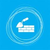 De troffelbouw en bakstenen muurpictogram op een blauwe achtergrond met abstracte cirkels rond en plaats voor uw tekst Stock Foto