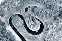 De trog van de de winterweg een fostessatellietbeeld van een hommel royalty-vrije stock fotografie