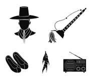 De trompet is een nationaal muzikaal instrument, een Koreaan in een hoofddeksel, een helende wortel, Koreaanse schoenen De reeks  vector illustratie