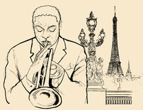 De trompetter van de jazz stock illustratie
