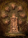 De troon van de schedel met wijnstokken Stock Afbeelding