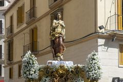 De Troon van Toegenomen van de Heilige Week in Malaga, Andalucia royalty-vrije stock fotografie