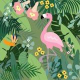 De tropische achtergrond van de zomer Flamingovogel met palm en banaanbladeren, monstera en doornappelbloemen Voorraadvector Stock Afbeeldingen