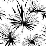 De tropische achtergrond van het wildernis bloemen naadloze patroon met palm le Royalty-vrije Stock Foto's