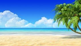 De tropische achtergrond van het zandstrand met palmen.