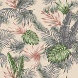 De tropische beige achtergrond van het bladeren naadloze vector botanische patroon royalty-vrije illustratie