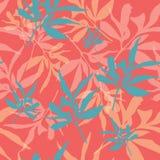 De tropische beige bladeren met roze olifant op witte seameless achtergrond herhalen vector illustratie