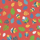 De tropische bladeren overhandigen getrokken naadloze patroonzwarte royalty-vrije illustratie