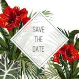 De tropische bladeren van de wildernispalm met exotische rode leliesbloemen Tekstplaceholder in het midden vector illustratie