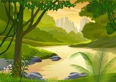 De tropische bomen van het Regenwoud en zoet waterstroom stock illustratie