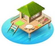 De tropische bungalow op water en vrouw ligt in deckchair vector illustratie