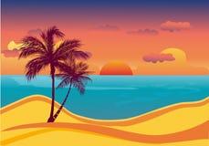 Tropische strandzonsondergang Royalty-vrije Stock Afbeelding