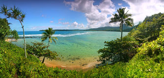 De tropische Mening van de Toevlucht in Kauai Hawaï Royalty-vrije Stock Afbeeldingen