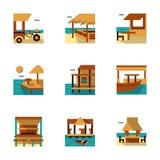 De tropische pictogrammen van de toevlucht vlakke kleur Royalty-vrije Stock Afbeelding