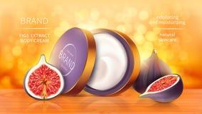 De tropische realistische vector van fig.schoonheidsmiddelen vector illustratie