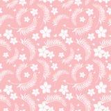 De tropische roze naadloze bloemen herhalen patroon Stock Afbeelding