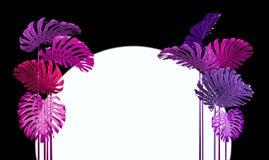 De tropische stijl van bladerenduotone in roze en viooltje stock afbeeldingen