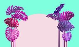 De tropische stijl van bladerenduotone in roze, violet en turkoois stock afbeelding