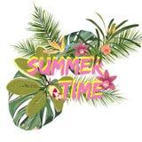 De tropische tekst van de de zomertijd met exotische die bladeren en bloemen op witte achtergrond worden geïsoleerd royalty-vrije illustratie