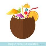 De tropische vlakke stijl van de kokosnotencocktail Stock Afbeeldingen