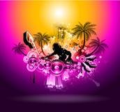 De tropische Vlieger van de Disco van de Partij van de Muziek van de Zonsondergang Royalty-vrije Stock Fotografie