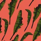 De tropische zomer die naadloos patroon met het blad van de palmbanaan schilderen royalty-vrije illustratie
