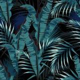 De tropische zomer die naadloos vectorpatroon met het blad en de installaties van de palmbanaan schilderen royalty-vrije illustratie