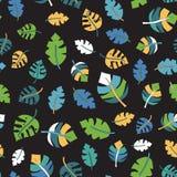 De tropische zwarte van het blad naadloze vectorpatroon royalty-vrije illustratie